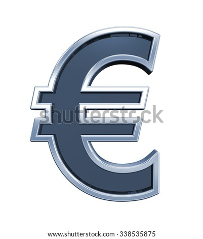 Euro sign from grey glass with chrome frame alphabet set, isolated on white. Computer generated 3D photo rendering.