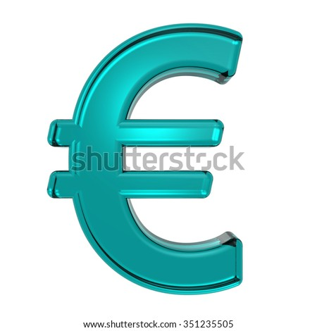 Euro sign from turquoise alphabet set, isolated on white. Computer generated 3D photo rendering.