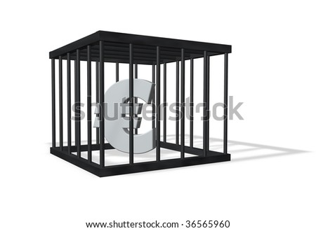 euro sign in a cage on white background - 3d illustration - stock photo