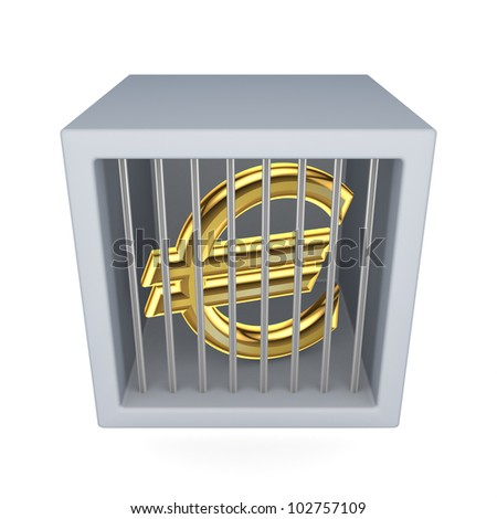 Euro sign in a prison.Isolated on white background.3d rendered. - stock photo