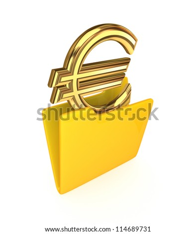 Euro sign in a yellow folder.Isolated on white background.3d rendered. - stock photo
