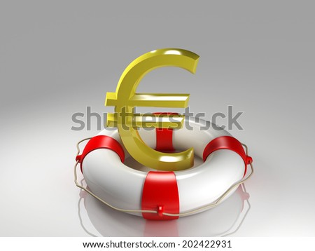Euro sign in the lifebuoy