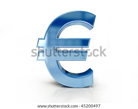 Euro sign isolated white color - stock photo