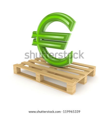 Euro sign on pallet.Isolated on white background.3d rendered. - stock photo