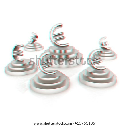 Euro sign on podium. 3D icon on white background . 3D illustration. Anaglyph. View with red/cyan glasses to see in 3D. - stock photo