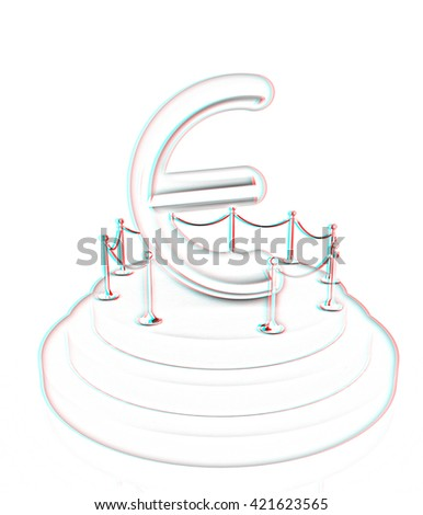 Euro sign on podium. 3D icon on white background . Pencil drawing. 3D illustration. Anaglyph. View with red/cyan glasses to see in 3D. - stock photo