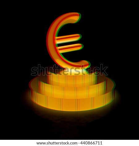Euro sign on podium. 3D illustration. Anaglyph. View with red/cyan glasses - stock photo