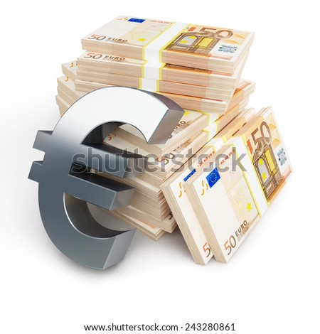 euro sign stacks of dollars on a white background - stock photo
