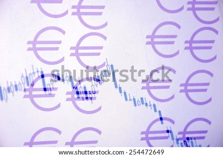 Euro sign & stock chart as background. - stock photo