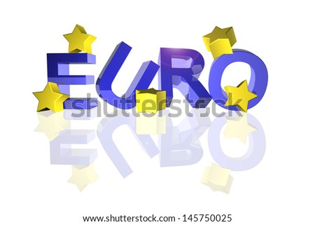 Euro sign with fallen stars in 3d - stock photo