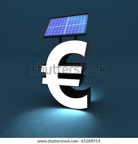 euro sign with solar panel - stock photo