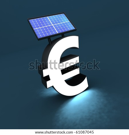 Euro sign with solar panel and light - stock photo