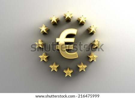 Euro sign with stars - gold 3D quality render on the wall background with soft shadow. - stock photo