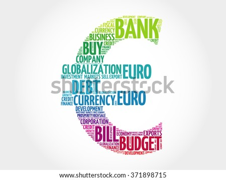 Euro sign word cloud, business concept - stock photo