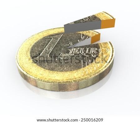 euro slice like pie diagram  - stock photo