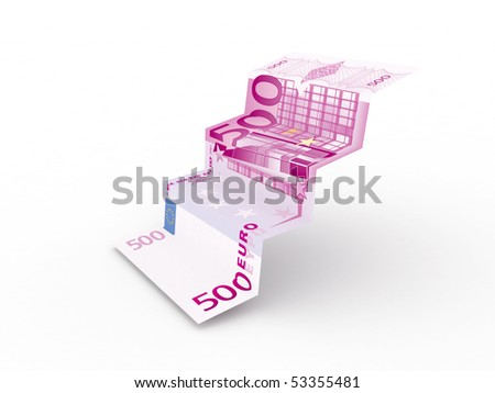 Euro stairs isolated on white background. High quality 3d render. - stock photo