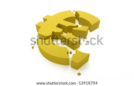 Euro symbol break for economic crisis concept - stock photo
