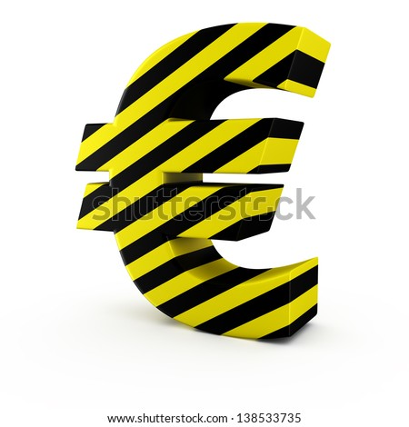Euro symbol by black-yellow warning strips on white