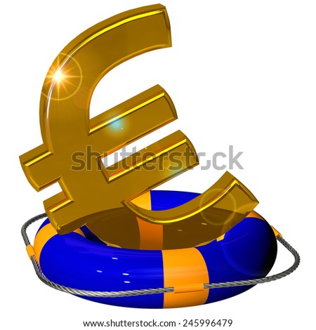 Euro symbol gold on the lifebuoy pontoon blue