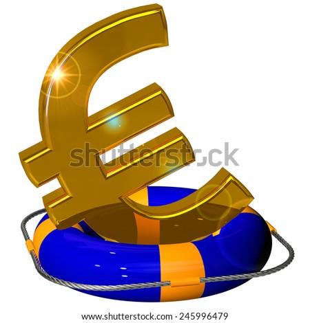 Euro symbol gold on the lifebuoy pontoon blue - stock photo