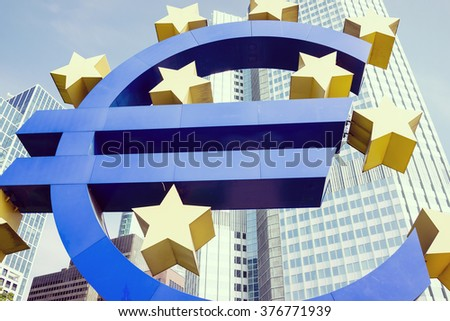 Euro symbol in Frankfurt - stock photo