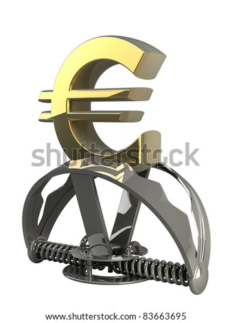 Euro symbol in the trap isolated on white background 3d