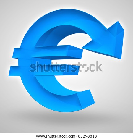 Euro symbol merged with downward arrow. 3D render. Concept for weak and declining European currency or business and financial concept. - stock photo