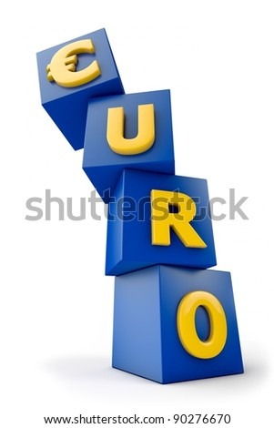 Euro symbol on blue boxes starts to fall - stock photo