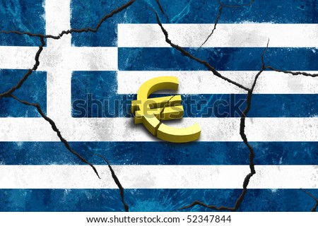 Euro symbol on greek crack flags background - stock photo