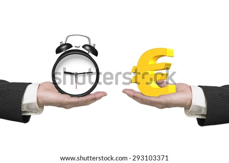 Euro symbol on one hand and alarm clock on another hand, isolated on white, concept of deal and time. - stock photo