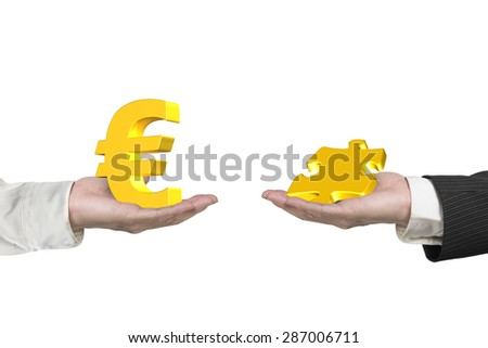 Euro symbol on one hand and puzzle piece on another hand, isolated on white, concept of deal. - stock photo
