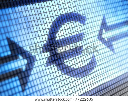 Euro symbol on screen Full collection of icons like that is in my portfolio - stock photo