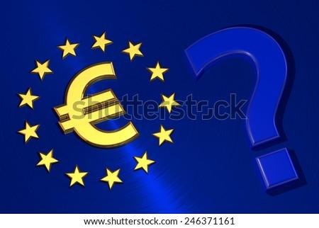 Euro symbol question mark on the flag of the European Union - stock photo