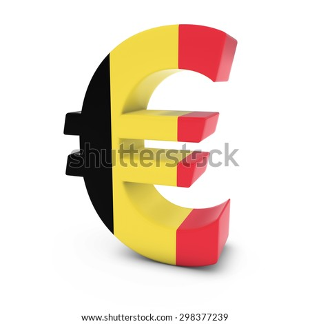Euro Symbol textured with the Belgian Flag Isolated on White Background - stock photo