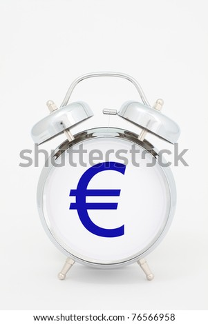 euro time. euro symbol on the alarm clock face - stock photo