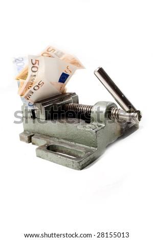 Euro under big pressure in crisis - stock photo