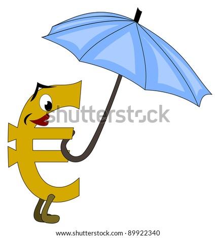 Euro under protective umbrella - stock photo