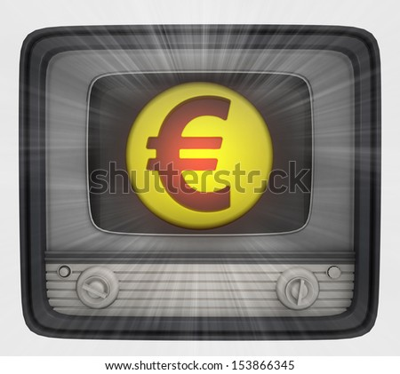 euro union coin in retro television and flare illustration