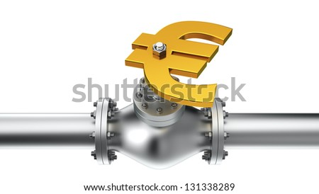 Euro valve on the pipeline, concept of energy crisis - stock photo