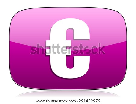 euro violet icon   - stock photo