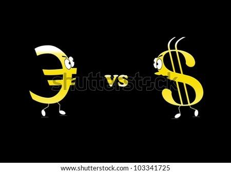 Euro vs Dollar. - stock photo