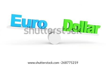 Euro vs Dollar concept. Dollar wins. Euro and Dollar on scales isolated on white background - stock photo