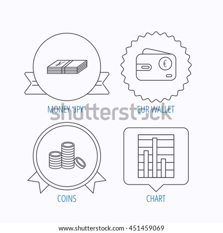 Euro wallet, cash money and chart icons. Coins linear sign. Award medal, star label and speech bubble designs.  - stock photo