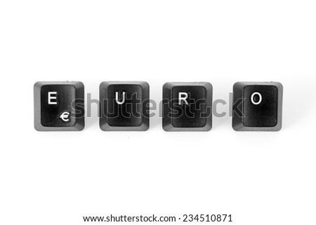 EURO word written with computer black buttons over white background.