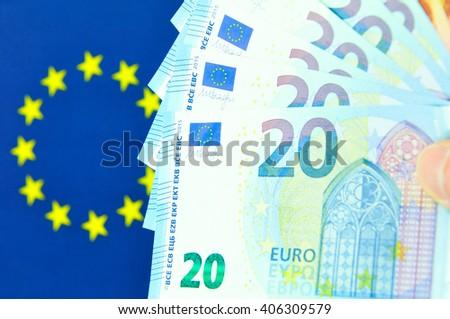 Euro zone concept with EU flag - stock photo