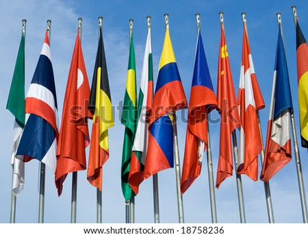 Euro Zone International Flags - stock photo