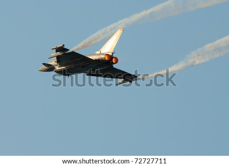 Eurofighter Typhoon. No brands,names,plates,etc recognizable - stock photo