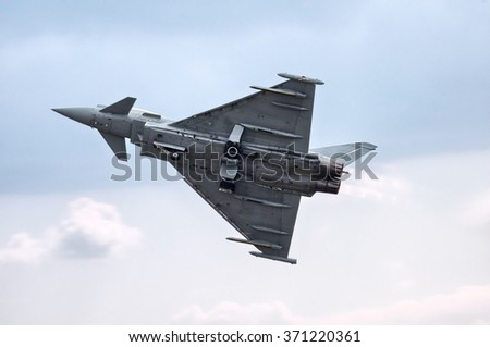 Eurofighter Typhoon on the sky ( (No brands,names,plates,etc recognizable)) - stock photo