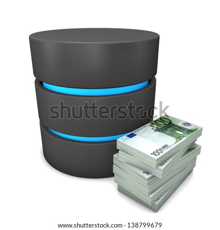 Euronotes with database on the white background. - stock photo
