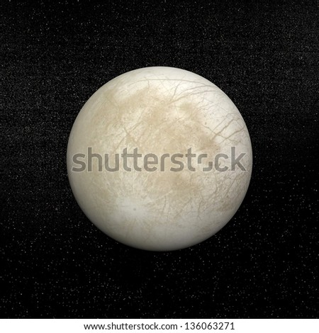 Europa planet in the universe. It is one of the four moons of Jupiter. - stock photo